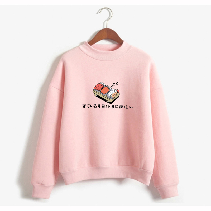 Cute Cartoon Print Style Japanese Sushi Kawaii Print Pattern Very Popular Girl Wind Street Pop Wind TOp Shirt Sweatshirt