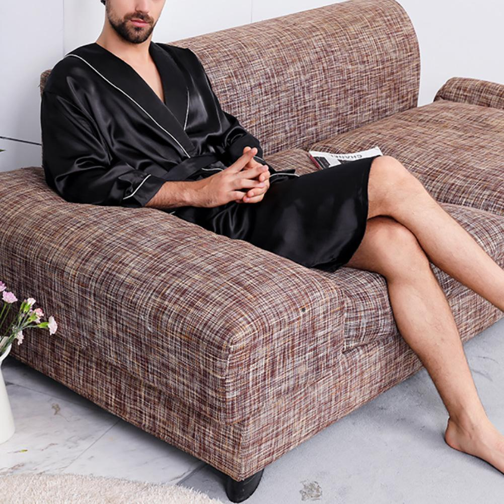 Men Nightgown Long Sleeve Robe Large Size Black Bathrobe Comfortable Sleepwear Imitation Silk With Pockets Waist Belt Home Gown
