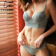 CINOON New sexy Underwear Set Women Bra Push Up Brassiere 3/4 Cup Gather Sexy Bra Panties Sets Embroidery Lace Lingerie Set
