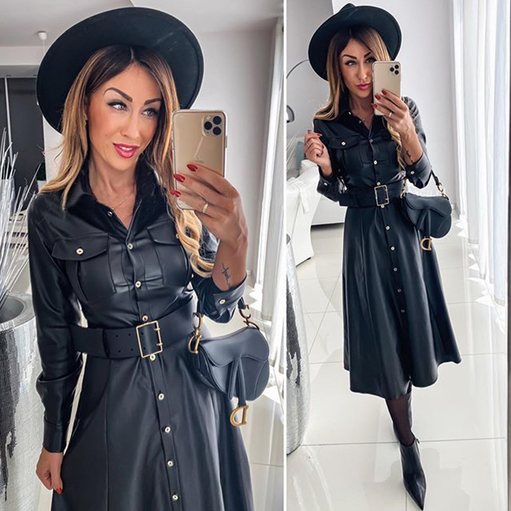 Leather Shirts Dress Casual Ladies Lapel Buttons Black PU Dresses with Belt New Spring Autumn Long Sleeve Women Maxi Dress D25
