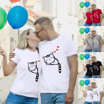 Unisex T Shirt  Streetwear Tee Tops Print Couples Lovers Funny Valentines Day O-neck Sleeve Love Cat cat print tee