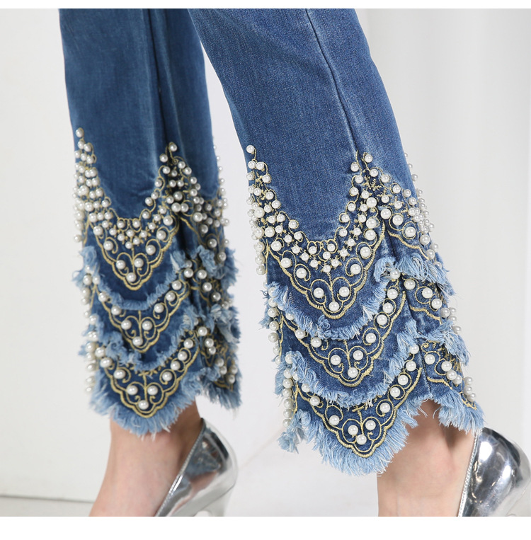 KSTUN FERZIGE Jeans for Women high waist blue elasticity flare pants embroidered beads luxury sexy female trousers brand jeans mujer 20