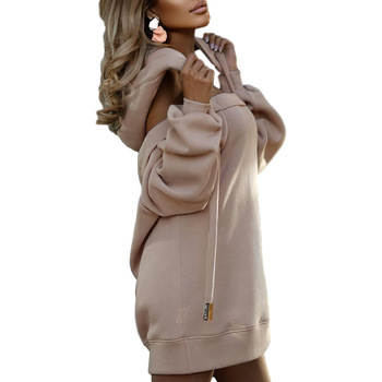 Autumn Winter Hoodie Dresses For Women Off-Shoulder Sweater Shirts Casual Oversize Vestidos Female Hoody Tops 10