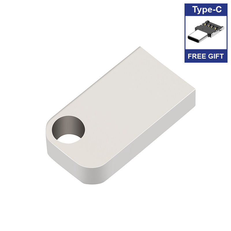 Image 2 - Free Type C adapter Pure Mini USB Flash Drives metal pendrive usb flash stick memory card 4GB 16GB 32GB 64GB 128gb 256gb 512gb-in USB Flash Drives from Computer & Office