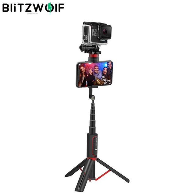 BlitzWolf BW BS10 Sport All In One portátil bluetooth Tripé Selfie Stick Monopé para Gopro 7 6 5 Sports Action 1/4 Screw View titular para seu celular tripé para smartphone para HUAWEI
