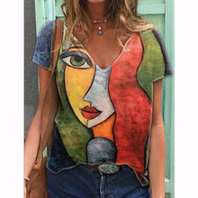 Harajuku Oversized T Shirt Womens Summer Casual Abstract Character Print T-shirt Women Cothing Streetwear y2k Short Sleeve Tees
