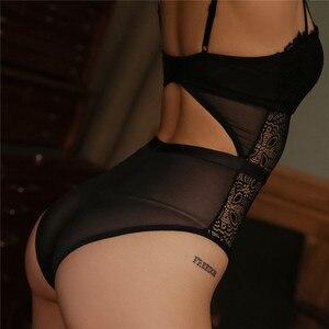 Image 5 - Fransız marka süper Push Up sütyen seti seksi dantel Bodycon kadın iç çamaşırı nakış Hollow korse pijama Onesies külot seti
