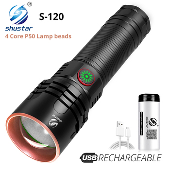 Super Bright 4-Core P50 LED Flashlight 4 Lighting Modes Telescopic Zoom Support One Key To Close Suitable For Outdoor
