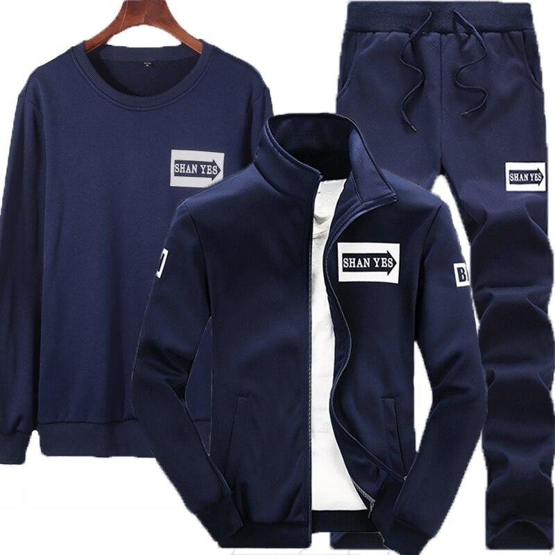NIGRITY 2019 Mens 2/3-piece-set Sweatshirt+jacket+Pant Sports Wear Track Suit Gyms Pants Casual Men's Sports Suit Fitness Sets