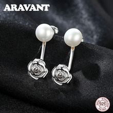 Unique Design 925 Sterling Silver Rose Flower Pearl Stud Earrings For Women Jewelry
