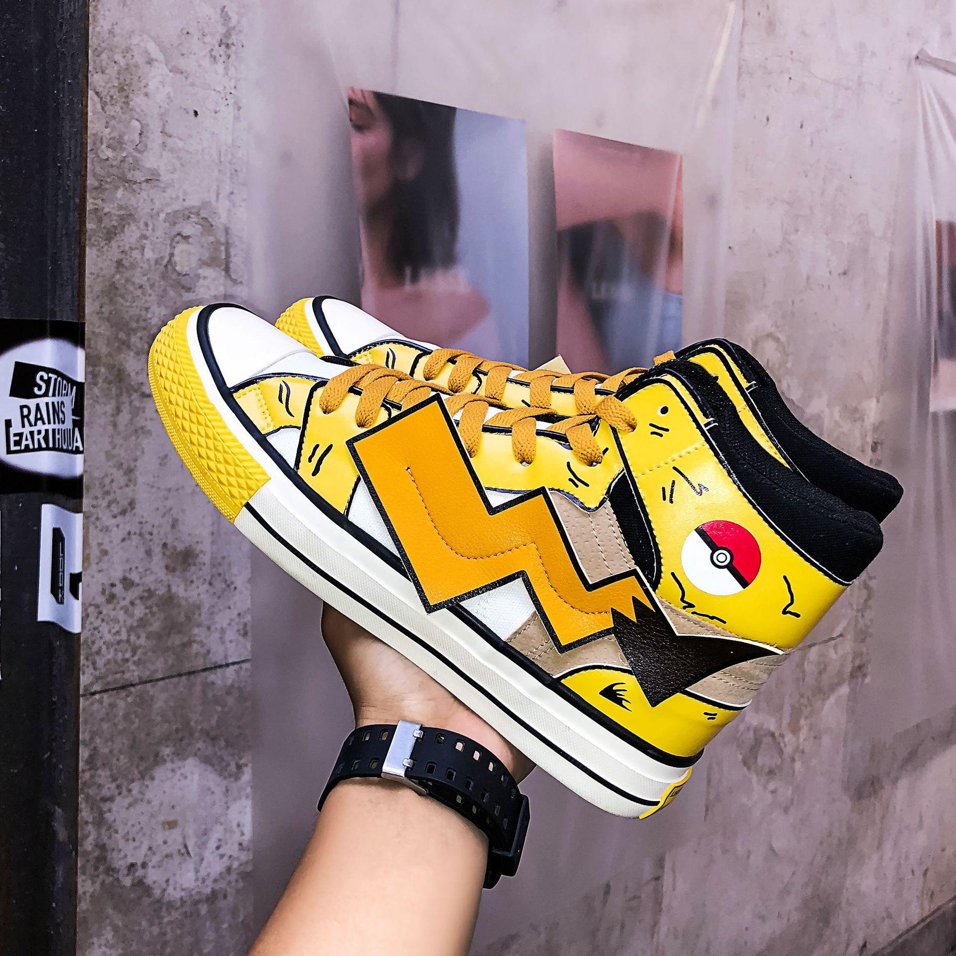 Модная парусиновая обувь для костюмированной вечеринки в стиле аниме «Покемон каваи Пикачу»; обувь для подростков; школьная спортивная обувь; кроссовки; Уличная обувь для путешествий - Цвет: A