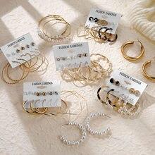 Es Pearl aretes para las mujeres Clip EN Pendientes geométricas Pendientes de botón Pendientes pendiente redondo círculo conjunto Brincos joyería de moda coreana