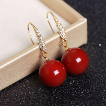 Natural Deep-Sea Organic Ruby Earrings 14k Gold Drop Earrings Women Red Round 14mm Beads Ruby Fine Jewelry with Certificate