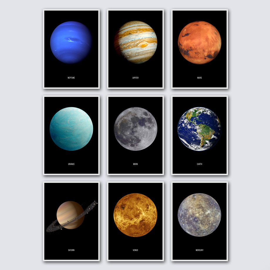 Cosmic Planet Earth Moon Mars Saturn Nordic Posters And Prints Wall Art Canvas Painting Cartoon Pictures For Living Room