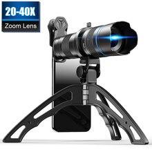 Apexel 20x 40x Регулируемый зум телескоп объектив для телефона
