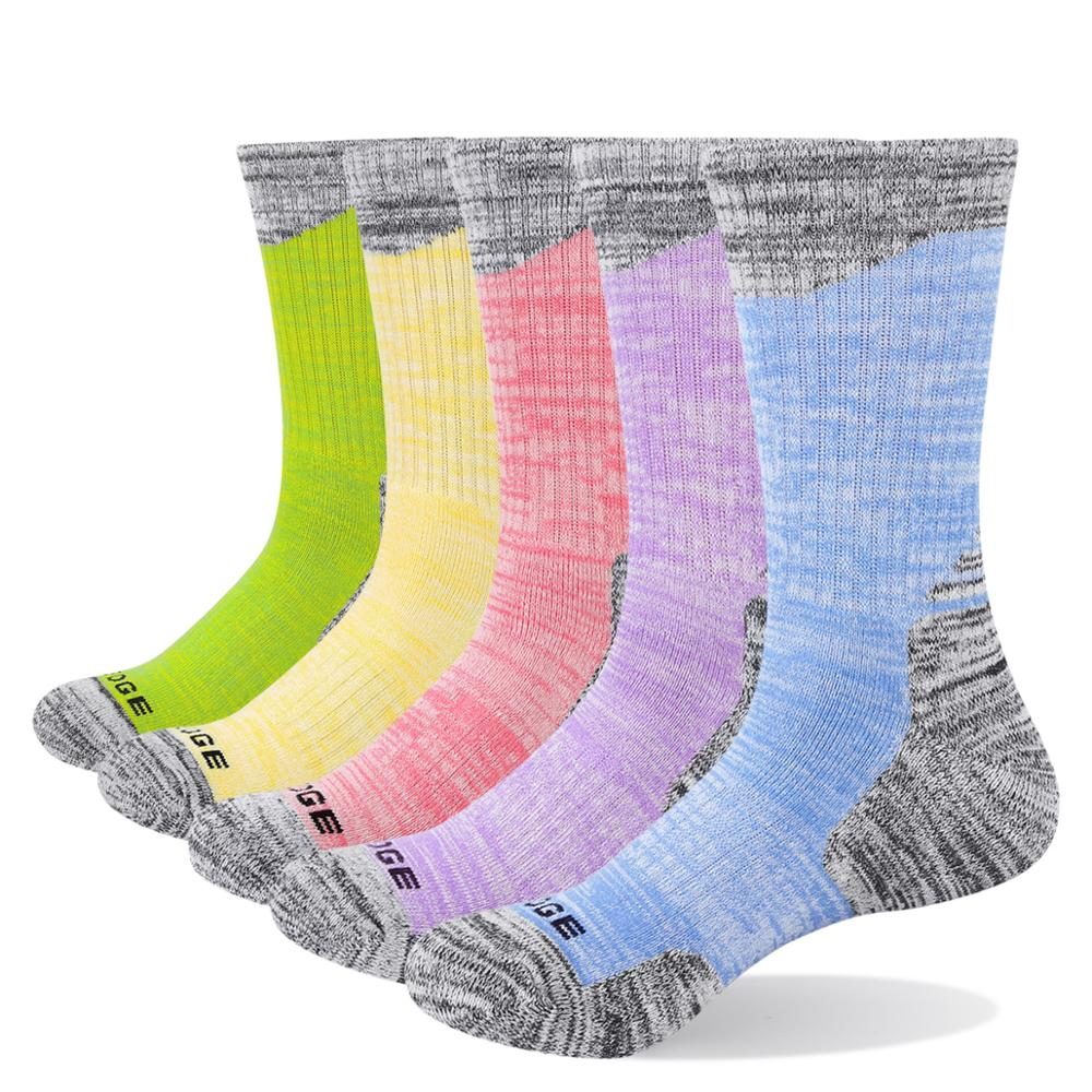 YUEDGE Womens Wicking Cushion Cotton Crew Socks Multi Performance Athletic Hiking Socks 2 Pairs//Pack