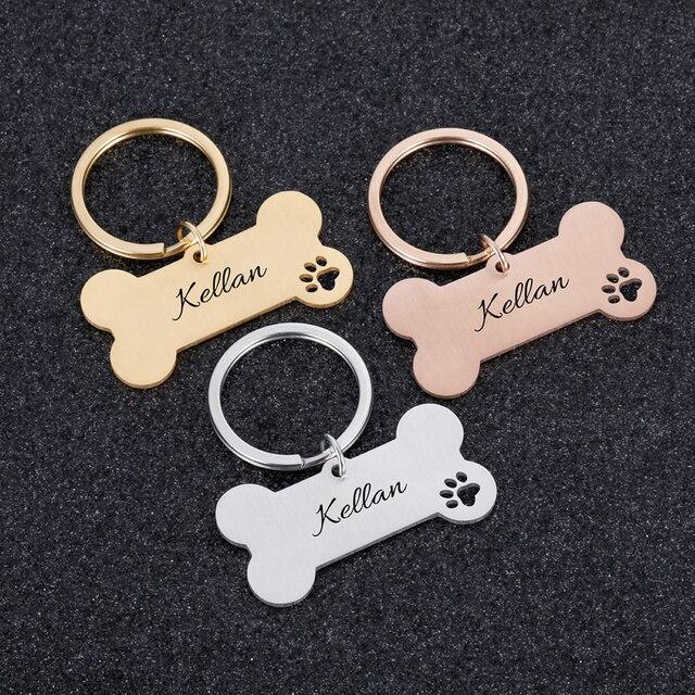Colar personalizado pet id tag gravado animal de estimação id nome para gato filhote de cachorro cão tag pingente chaveiro osso acessórios para animais de estimação 2
