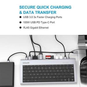 Док-станция для клавиатуры QGeeM Адаптер-концентратор USB C для Macbook Pro Air 2020 13 Док-станция-концентратор Xiaomi Type C Multi USB HUB 3.0 Splitter HDMI VGA Card Readers RJ45 Aux PD Charger for Laptops