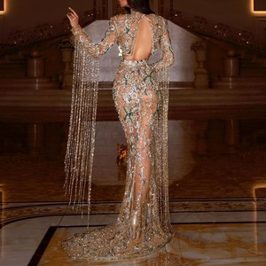 Image 2 - Luxury Dubai Beadings Prom Dresses Sheer Long Sleeves With Tassels High Neck Mermaid Prom Girls Custom Made Long Gowns