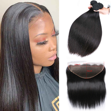 Sapphire Straight Human Hair 3 Bundles With Frontal Closure Pre Plucked Brazilian Straight Human Hair Bundles With 13*6 Frontal