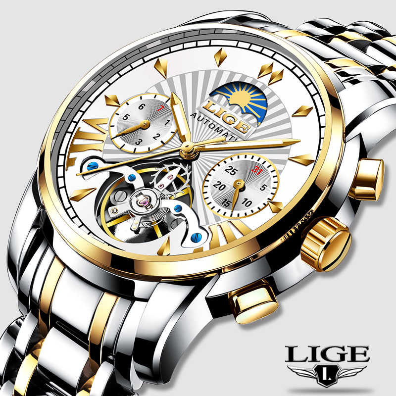 LIGE Gold Watch Mechanical Official-Store Mecanico-De-Hombres Top-Brand Automatic Luxury