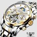LIGE Официальный магазин для мужчин s часы лучший бренд класса люкс автоматические механические бизнес часы золотые часы для мужчин Reloj Mecanico de...