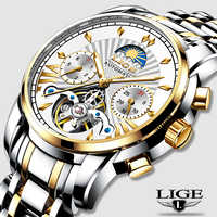 LIGE Offizielle Shop Herren Uhren Top Marke Luxus Automatische Mechanische Business Uhr Gold Uhr Männer Reloj Mecanico de Hombres