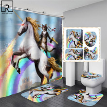 Cat Riding A Unicorn 3D Print Shower Curtain with Hook Set Polyester Waterproof Bathroom Curtains Toilet Partition WC Bath Rugs
