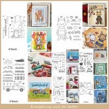 Christmas Fox Bear Rabbit Mermaid Truck Fall Snowman Letter Sentence Clear Silicone Stamps Make Cards DIY Handmade Scrapbook New