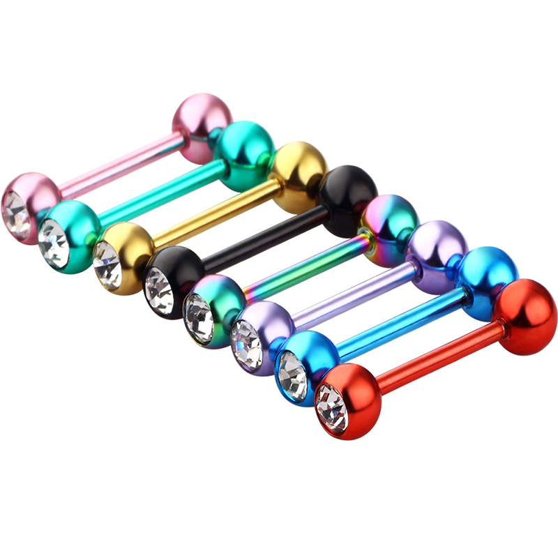 Tongue Rings 2019 Colorful Stainless Steel Ball Barbell Tongue Rings Bars Piercing Navel Ring 30PCS