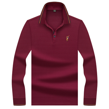 High Quality Solid 3D Embroidery Polo Shirt Casual Lapel Polo Shirts men's Long sleeve polo shirt Polo Homme Polos Para Hombre фото