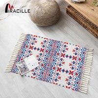 Miraille retro boêmio quarto tapete exótico borla tapete tecido longo para o chá sala de estar decoração casa