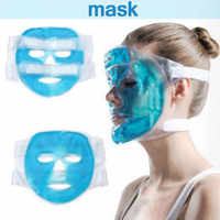 Cold Gel Face Mask Ice Compress Blue Full Face Cooling Mask Fatigue Relief Relaxation Pad With Cold Pack Faicial