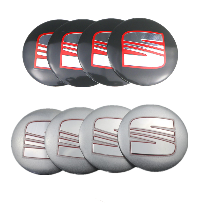 4pcs 56mm Aluminum <font><b>Car</b></font> <font><b>Wheel</b></font> Center Caps Sticker for <font><b>Seat</b></font> ibiza 6j 6l fr Ateca <font><b>Altea</b></font> xl <font><b>leon</b></font> 2 ateca fr ibiza Alhambra image