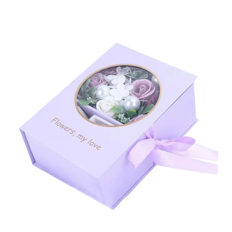 Soap Flower Bouquet With Packing Box Red Scented Rose For Valentine'S Day Soap Rose In Gift Box