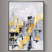 2019 New Drawing Handmade Abstract Black white gray yellow Painting Landscape Wall Art Picture For Living Room Abstract Pictures