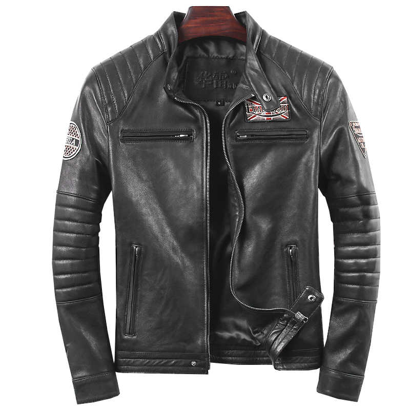 Geniune Men Sheepskin Leather Jacket Short Slim Motocycle Spring Autumn Jaqueta De Couro HL-019 MF113