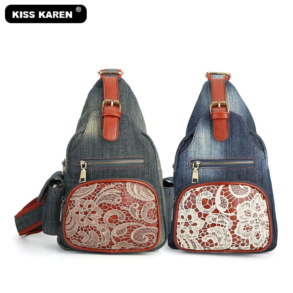 Studded Sling Bag Denim Chest Bags Casual Fashion Shoulder Bags Women Purse