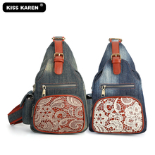 Stylish Denim Sling Bag Vintage Floral Lace Casual Day packs Fashion Women Cross body Travel Shoulder Bags Jeans Chest Bags