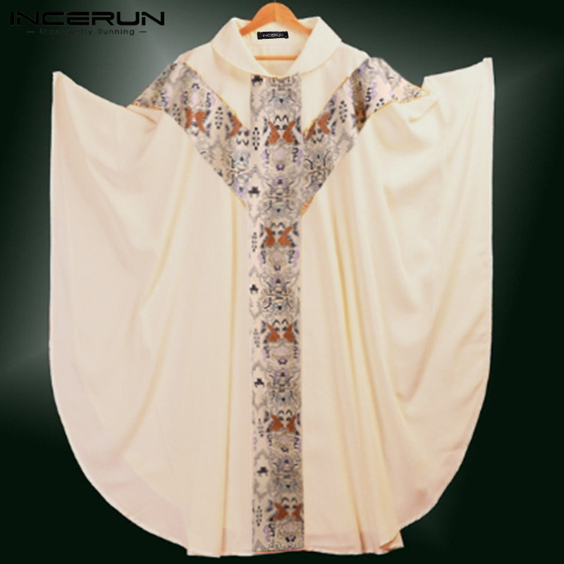 INCERUN Priest Costume Celebrant Catholic Men Church Clergy Fathers Chasuble Catholic Vestments Cope Robe Print Beige Long Tops