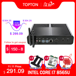 New Fanless Mini Computer Intel i7 10710U 10510U Desktop PC Windows 10 2*DDR4 M.2 NVMe+Msata+2.5''SATA 4K HTPC Nettop HDMI DP