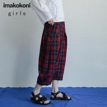 Красные шаровары imakokoni в клетку оригинальный дизайн свободные