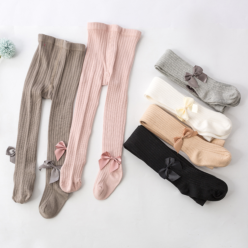 Fashion Kid Kniting Girls Leggings Elastic Princess Bow Knot Beads Leggins For Baby Girls Children Clothing Getry Leginsy 6M-12Y