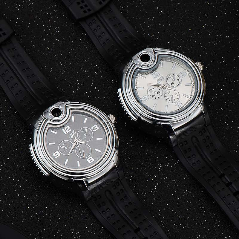 Men's Quartz Wrist Watches with Lighter Fashion Creative Military Watches Male Clock Moment Watches Best Gifts for Men Boyfriend