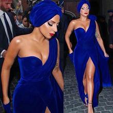 Леди Гага красный ковер вечернее платье Королевский синий бархат длинный формальный праздник одежда знаменитостей Выпускные вечерние платья плюс размер