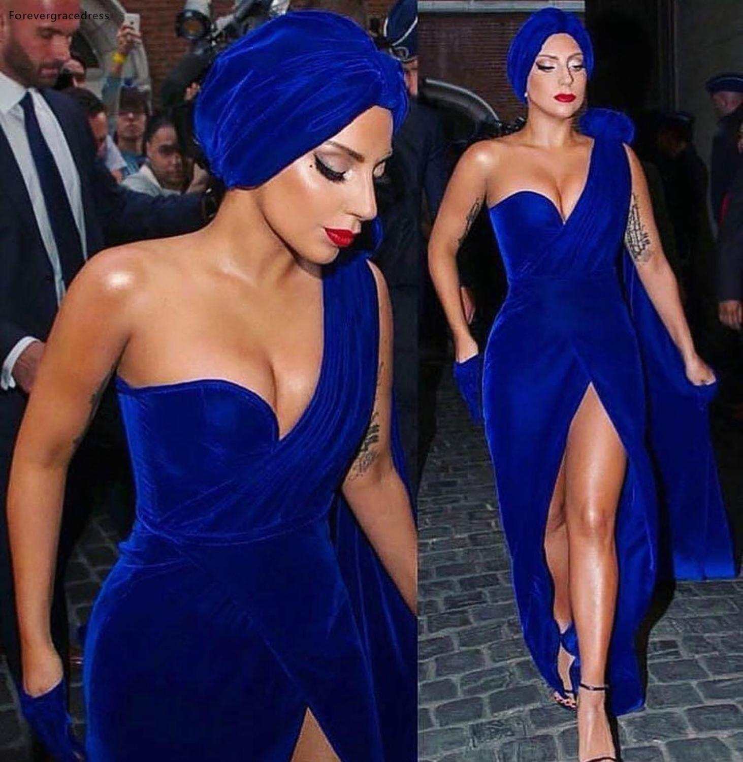2019 Lady Gaga Red Carpet Evening Dress Royal Blue Velvet Long Formal Holiday Celebrity Wear Prom Party Gown Plus Size