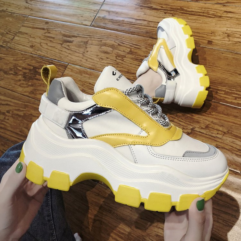 Women Chunky Sneakers Fashion Platform Sneakers White Ladies Brand Designer Casual Shoes Woman Leather Sports Dad Shoes Female