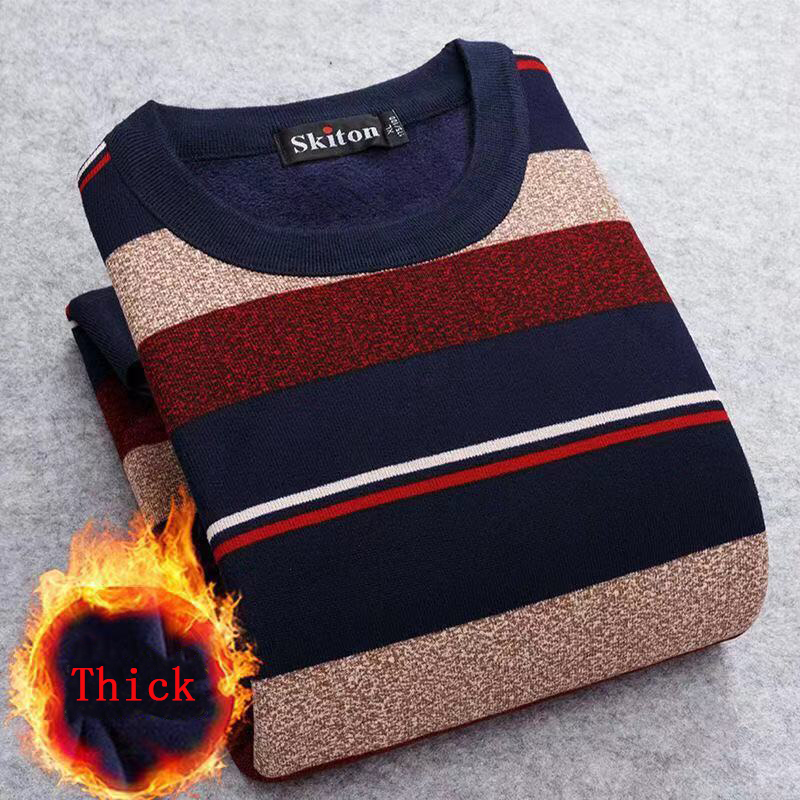 Men Sweater 2020 Autumn Winter New Plus Velvet Sweater Men Fashion Casual Striped O-neck Pullover Pull Men Warm Bottoming Shirt