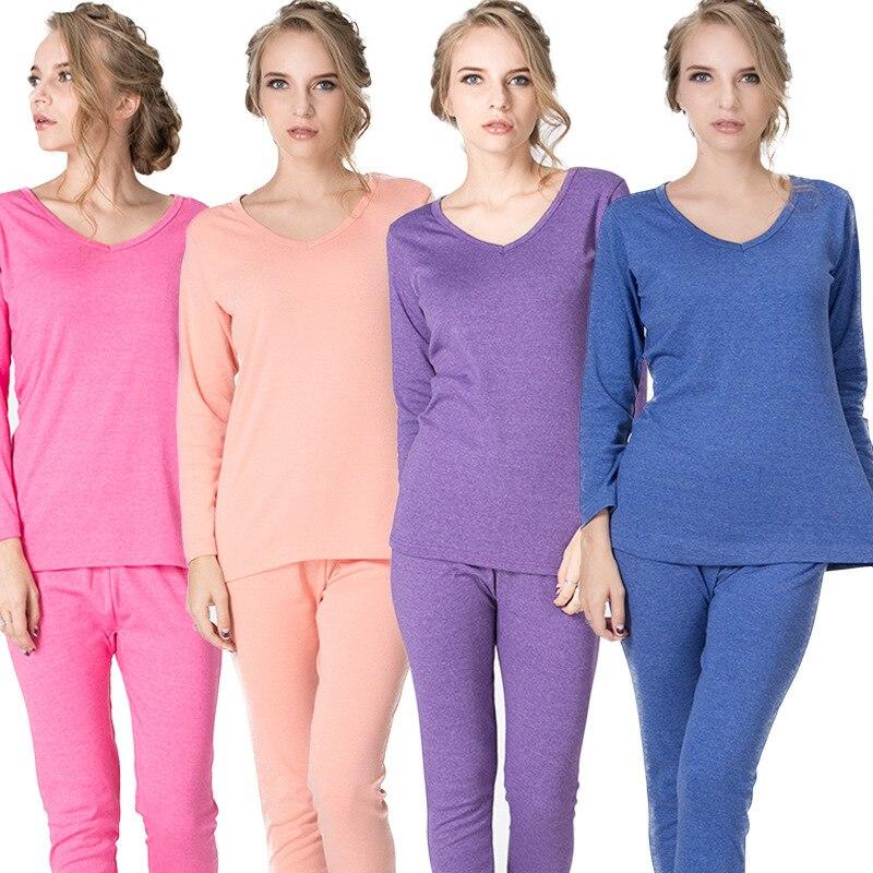 Autumn And Winter New Women's Underwear Cotton V-neck Long Johns Segunda Pele Termica Feminina Plus Size XL-6XL
