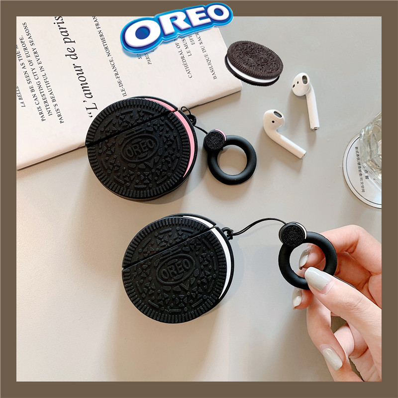 3D Funny Oreo Cookies Headphone Cases With Anti-lost Ring Lanyard For Apple Airpods 1/2 Cute Silicone Earphone Protection Cover